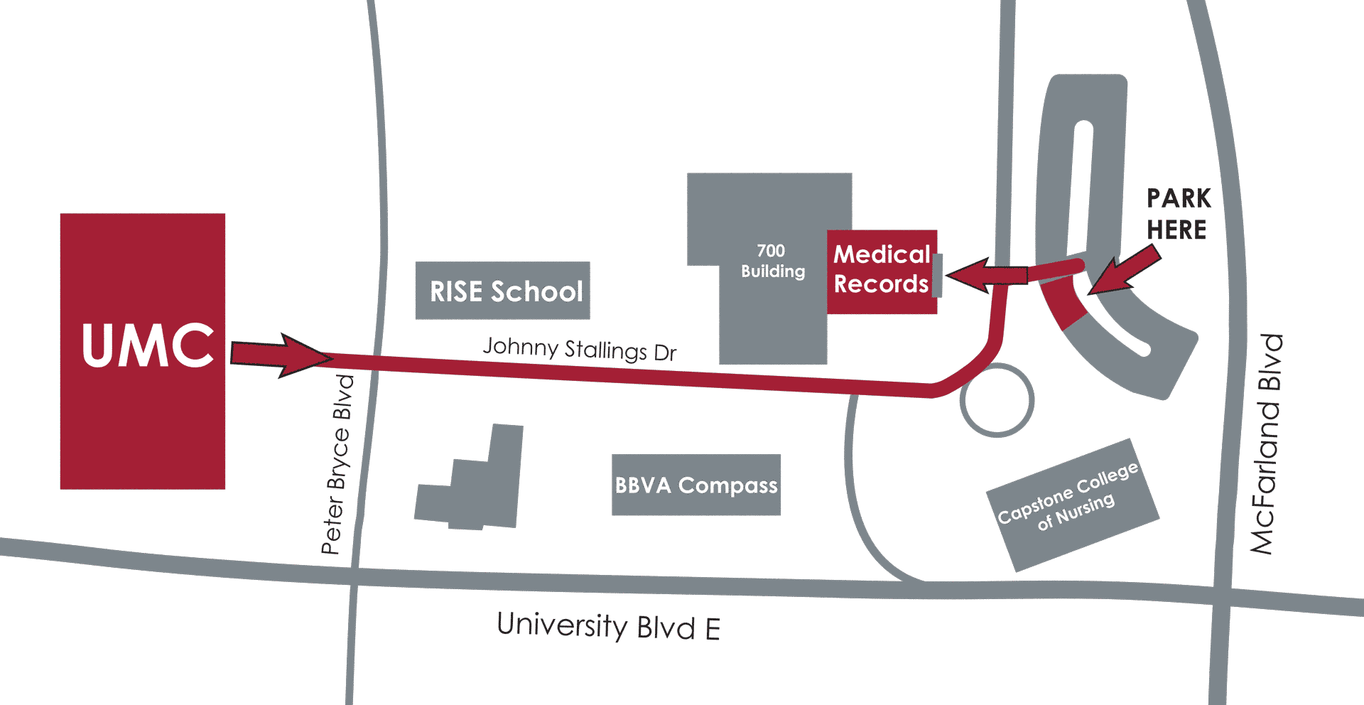 Map of how to get from University Medical Center to Medical Records.